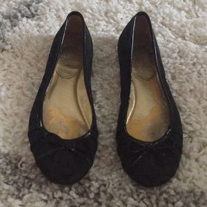 Coach black ballet flats with gold heel